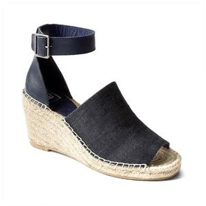 GAP Denim Ankle Strap Jute Wedge Espadrille Sandal